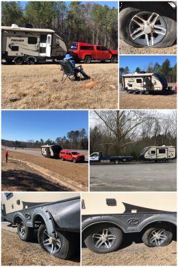 Travel trailer tire blowout
