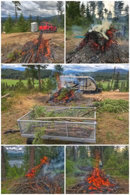Slash pile burning